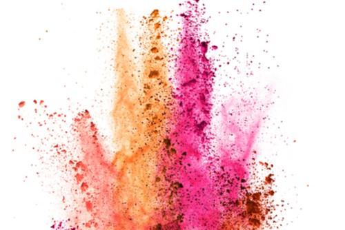 Red, orange, pink colours splashing on white background